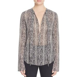 4a4b8a4e3a28ab Theory Tops - Theory Kimry snakeprint tie front blouse 100% sil!